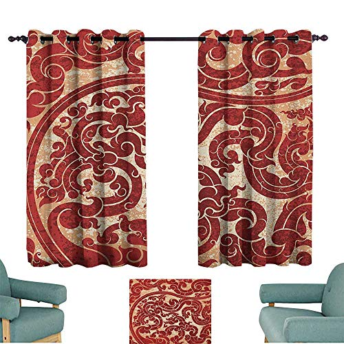 Antique Exquisite Curtain Thai Culture Vector Abstract Background Flower Pattern Wallpaper Design Artwork Print for Living, Dining, Bedroom (Pair) 55