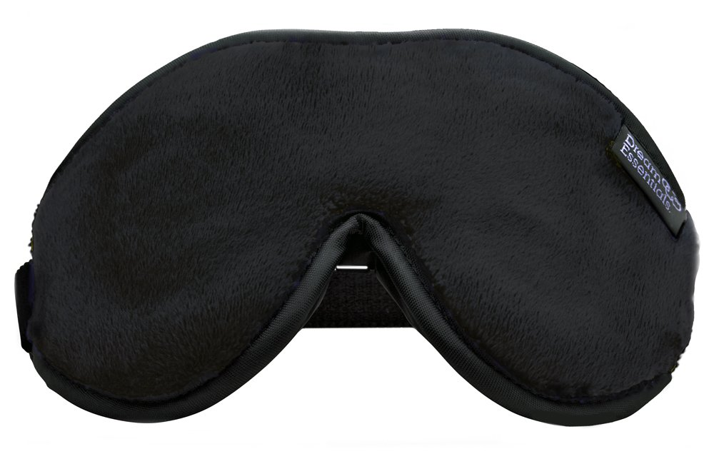 Dream Essentials Escape Luxury Travel and Sleep Mask with Earplugs and Carry Pouch, Black