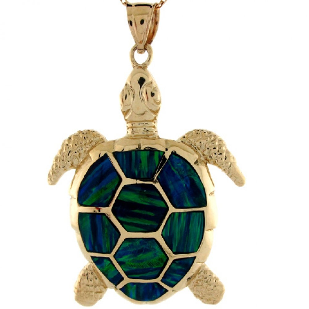 14k Yellow Gold Gorgeous Lined Blue Green Simulated Opal Sea Turtle Pendant