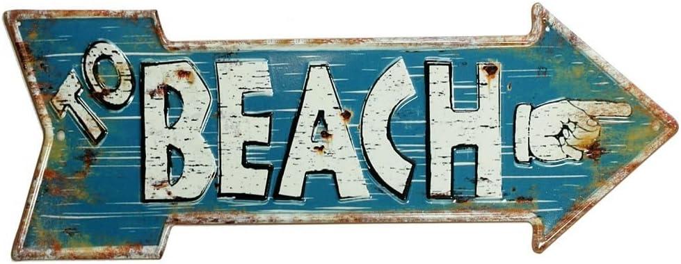 Retro Blechschild BEACH Wegweiser Pfeil Strand Vintage Geprägt 50 x 19 cm