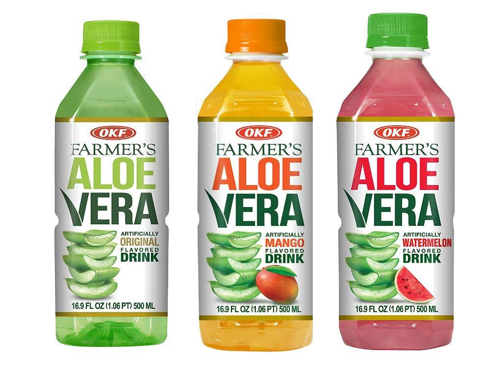 OKF Farmer's Aloe Vera Drink, Original, Mango and Watermelon, 16.9 Fluid Ounce (Pack of 20 each)