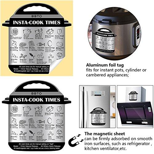 BBTO 3 Pieces Instant Pot Magnetic Cheat Sheet, 3 Pieces Aluminum Foil Tag, Textual Description and Food Images Cooking Times for 17 Common Prep Functions, Food Cooking Sheet for Instant Pot