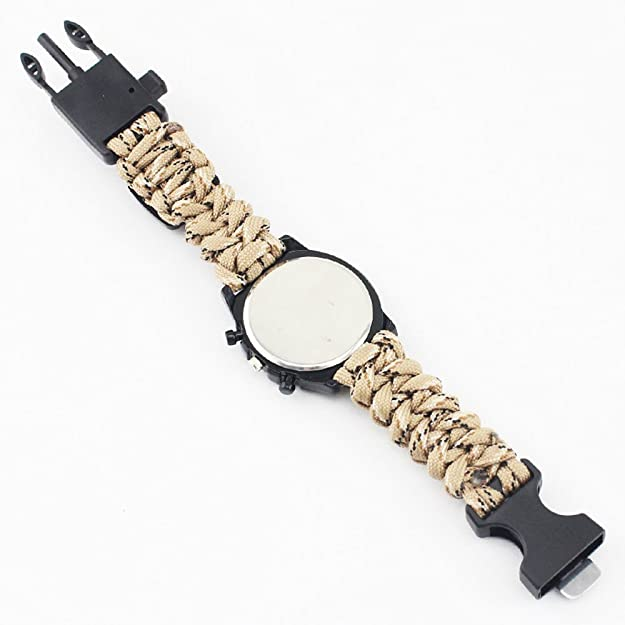 Amazon.com: Outdoor Survival Watch Braided Strap Bracelet Paracord Multifunction Compass Flint Fire Starter Whistle (White): Jewelry