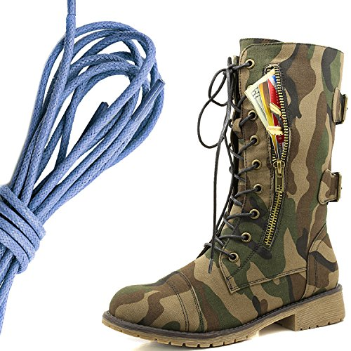 DailyShoes Womens Military Lace Up Buckle Combat Boots Mid Knee High Exclusive Credit Card Pocket, Royal Blue Classic Army