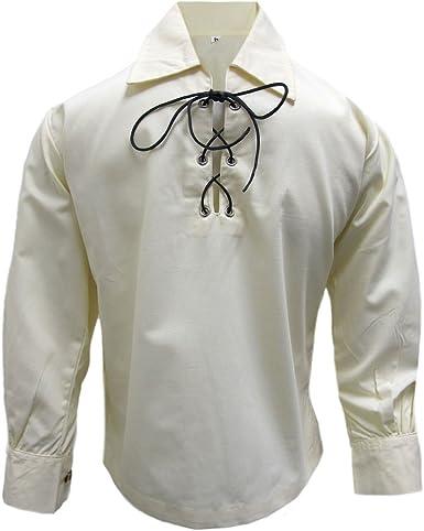Tartanista - Camisa Escocesa Tipo jacobita/Ghillie para niños - Crema/Beige - 9-10 años: Amazon.es: Ropa y accesorios
