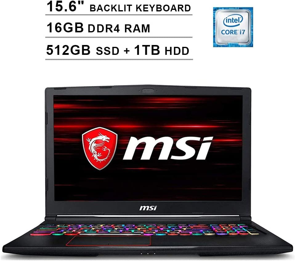 2020 Newest MSI GE63 Raider 15.6 Inch FHD 1080P Gaming Laptop (8th Gen Inter 6-Cores i7-8750H up to 4.1GHz, 16GB DDR4 RAM, 512GB SSD (Boot) + 1TB HDD, Geforce RTX 2070 8GB, Backlit KB, Windows 10)