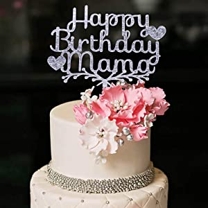 YUINYO Silver Glitter Happy Acrylic Heart Birthday Mama Cake Topper for Birthday Party Decorations