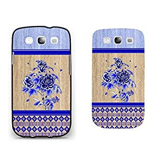 Elegant Blue Stripe Wood Pattern Print Hard Skin Case Cover for Samsung Galaxy S3 I9300 (black)