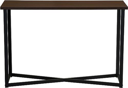 Household Essentials Slim Sofa Table with Metal Frame 15.35 D x 29.5 H x 44 W Dark Walnut, Brown