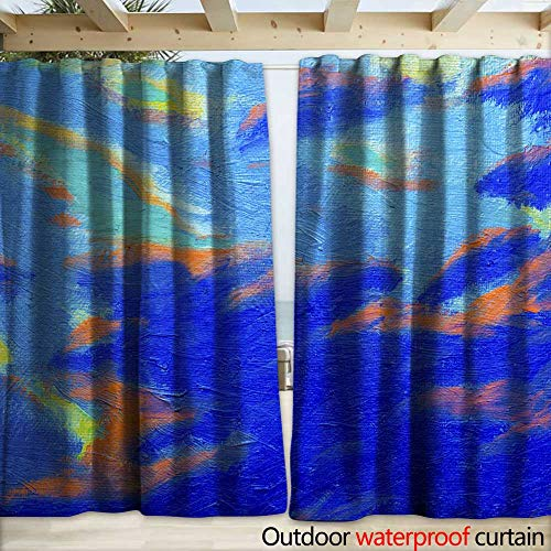 warmfamily Outdoor Door Curtain Abstract Original Oil Painting with Blue Sky and Cloud Background Drapery W108 x ()