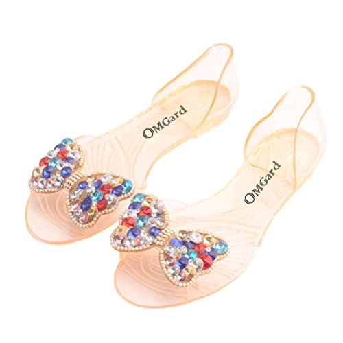 8fa2e37133c40b Omgard Women Summer Transparent Soft Jelly Sandals Flat Crystal Bow Peep  Toe Beach Shoes Color Tan