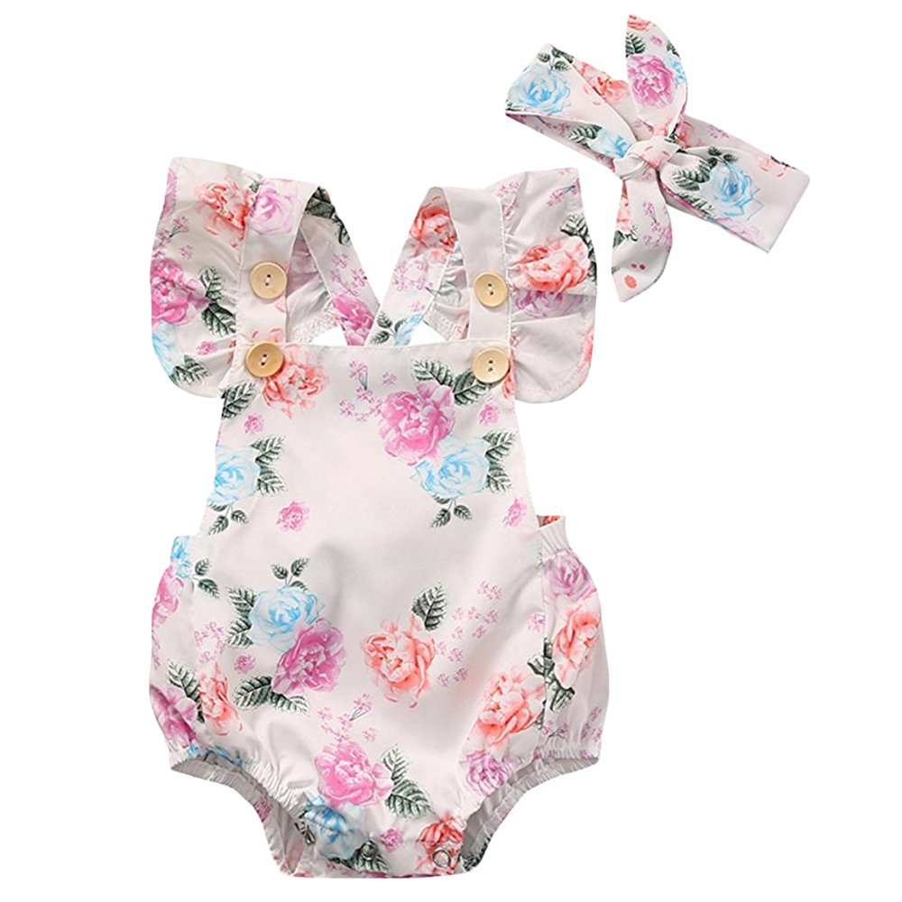XWDA Baby Girls Romper Cotton Baby Jumpsuits Bodysuits Outfit with Headband 3644