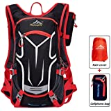 18L Waterproof Bag, Cycling Backpack Lightweight Outdoor Sports MTB Riding Backpack Hydration Compatible for Hiking Running Backpack with Rain Cover