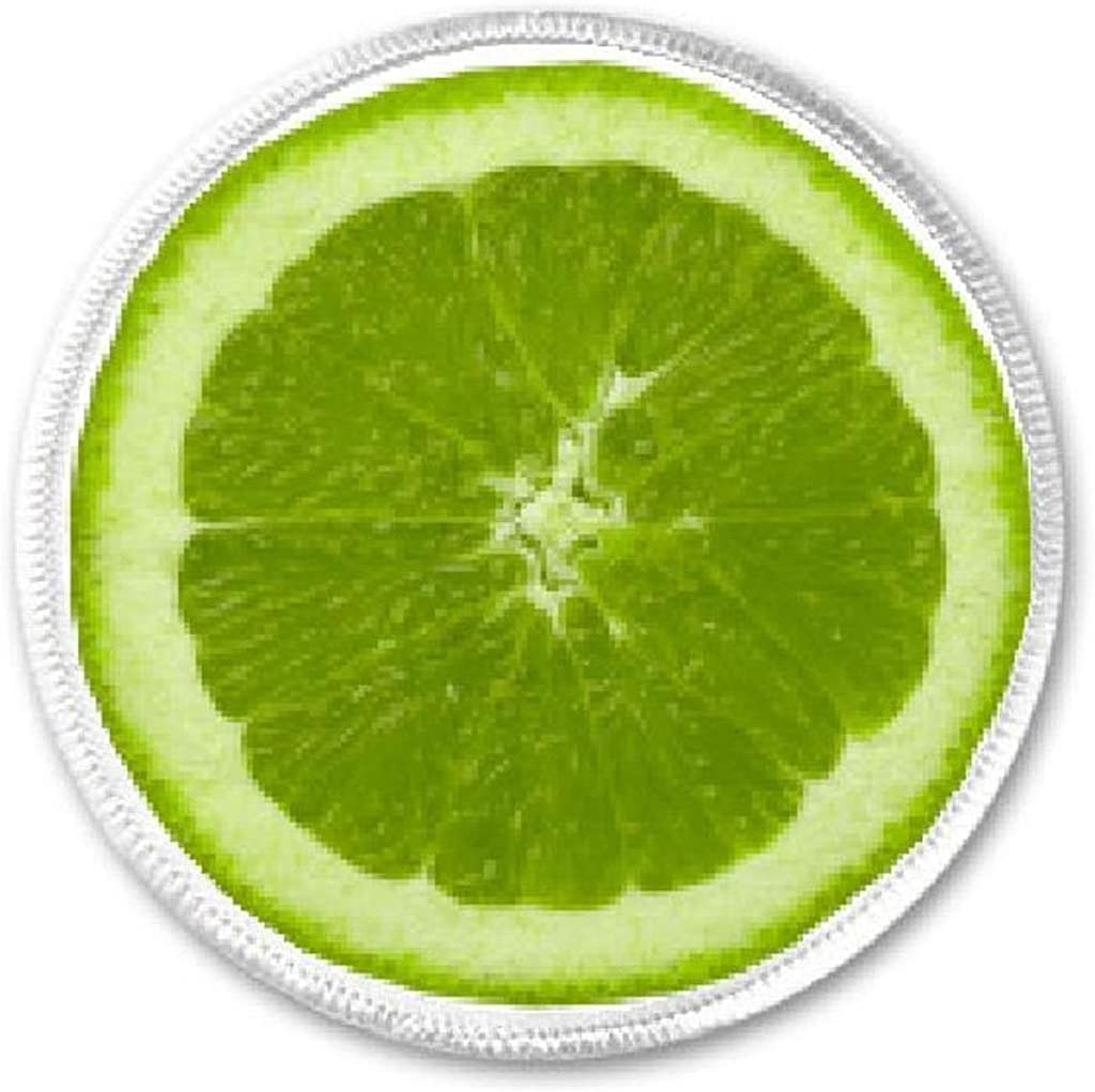 """3/"""" Green Twill Lime Fruit Embroidery Patch"""