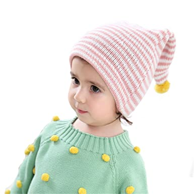 f9ee2aecad3 Image Unavailable. Image not available for. Colour  DB-Children hat Beanie  Bobble Pompom Hat Kids Baby Boys Girls Autumn Winter Stripes Pattern
