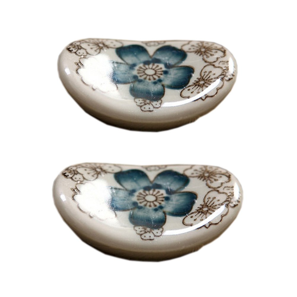4pcs Ceramics Chopsticks Rests Chopstick Rest Spoon Fork Holder, Blue Flower Blancho Bedding