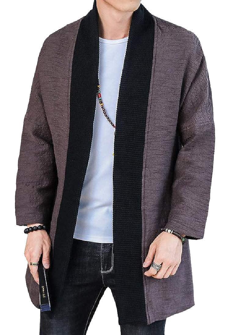 CuteRose Mens Classic Kung Fu Shawl Collar Thigh-Length Cover Up Coat
