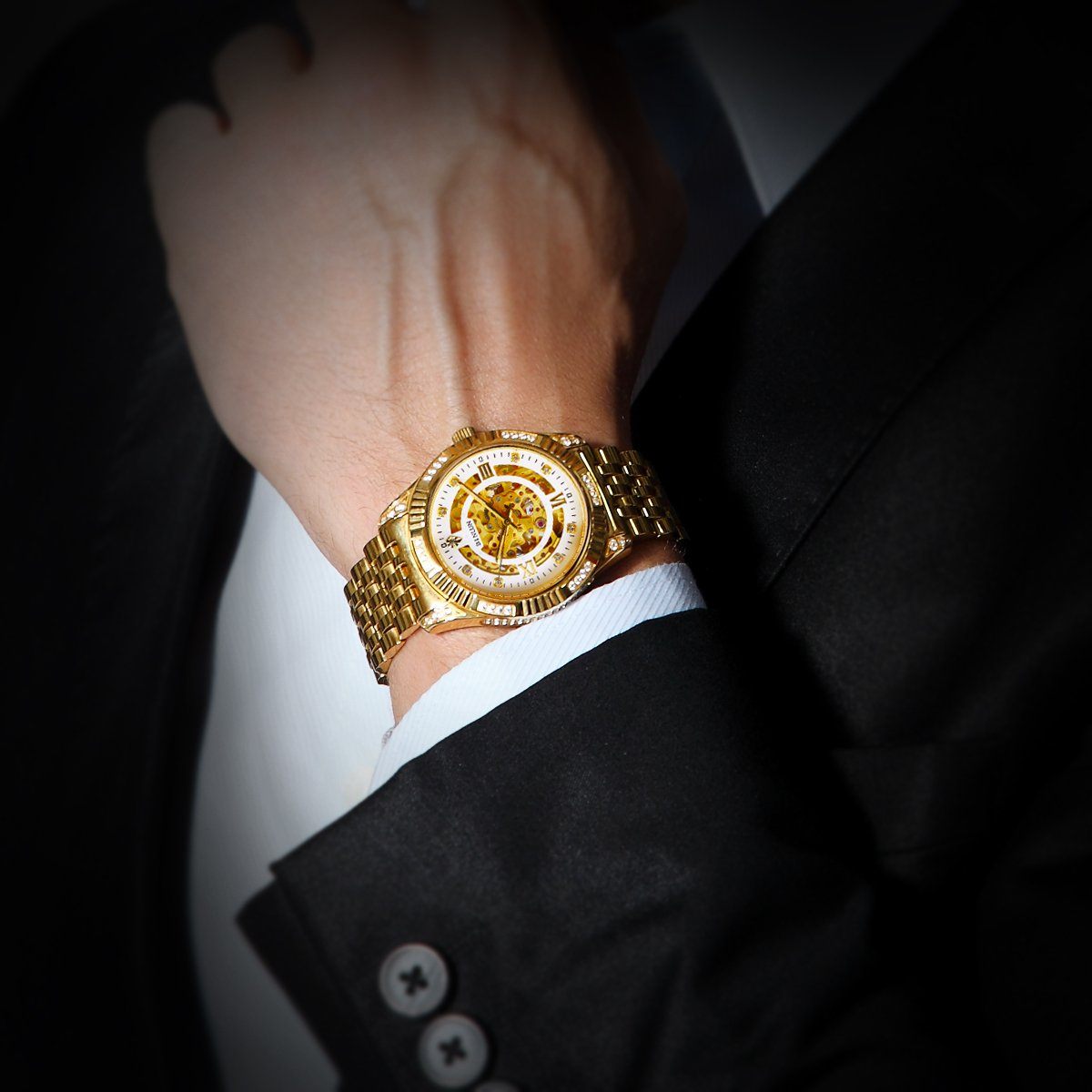 BINLUN Men's Gold Automatic Luxury Skeleton Watches Gift to Father by BINLUN (Image #7)