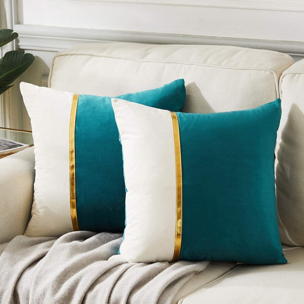 Fancy Homi 2 Packs Decorative Throw Pillow Covers 18x18 Inch for Living Room Couch Bed, Teal Green and White Velvet Patchwork with Gold Leather, Luxury Modern Home Decor, Accent Cushion Case 45x45 cm