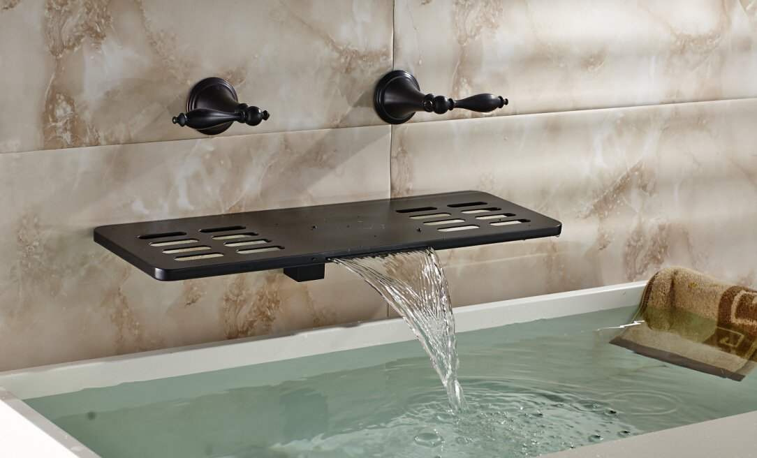 Oulantron Oil Rubbed Bronze Waterfall Bathtub Faucet with Bath Shelf ...