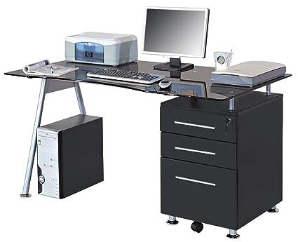 Scrivania Ufficio Immagini : Sixbros office scrivania ufficio porta pc vetro nero mbj b