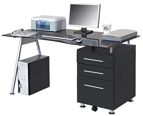 Scrivania Ufficio Porta Pc : Sixbros office scrivania ufficio porta pc vetro nero mbj b