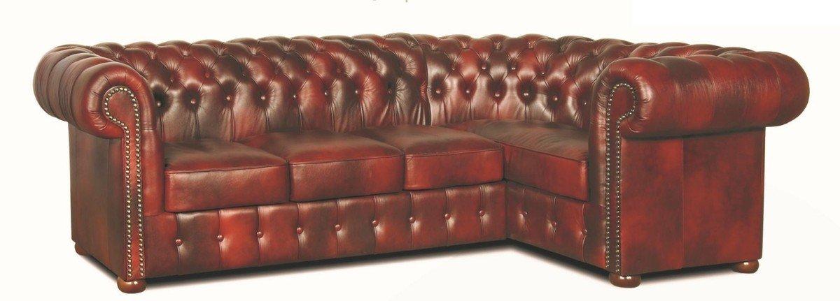 Casa-Padrino Chesterfield sofá esquinero de Piel Genuina ...