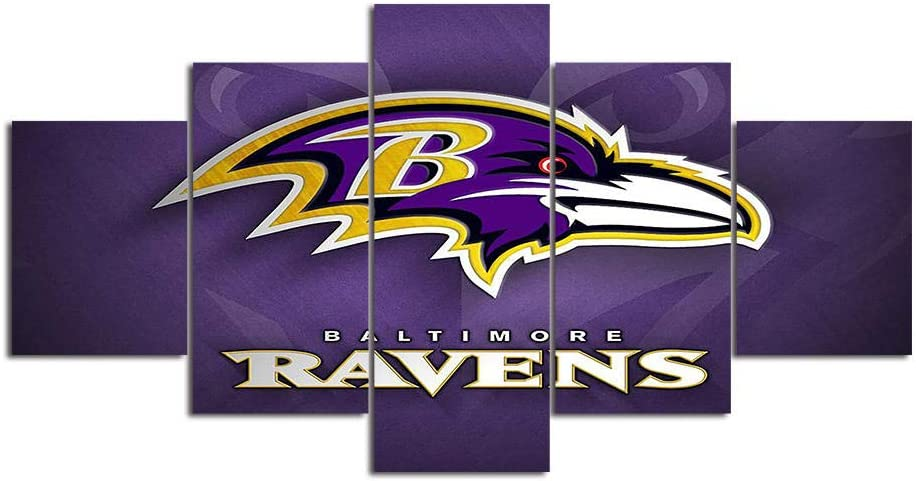 Baltimore Ravens Wall Art Decor Paintings 5 Piece Canvas Picture Artwork Living Room NFL Sport American Football 1 Prints Poster Decoration Wooden Framed-100x55cm