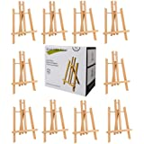 CONDA 12 inch Tall Tabletop Display Wood Easel(Pack of 12) Photo Painting Display Portable Tripod Holder Stand