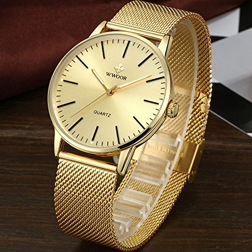 Mens Simple Slim Watch Analog Quartz Waterproof Stainless Steel Mesh Band Casual Wrist Watches
