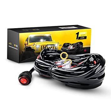 61ZoKNvBt%2BL._SY355_ amazon com gooacc off road led light bar wiring harness kit 12v waterproof wiring harness at fashall.co