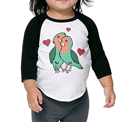SH-rong Love Birds With Red Hearts Toddler 3/4 Sleeve T-shirt