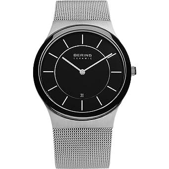 Bering Ceramic 32239-047 - Reloj analógico de cuarzo para hombre, correa de acero inoxidable color plateado: Amazon.es: Relojes