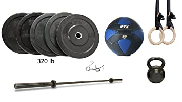 Home garage gym package set troy vtx bar and bumper set with