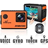"4K Action Camera 20MP WiFi Waterproof Sports Camera SOOCOO S100Pro 2 "" LCD Touchscreen Voice Control 170° Wide-Angle Lens 2.4GHz Remote Control, 2 Pcs Rechargeable Batteries, Free 20+ Accessories Kits"
