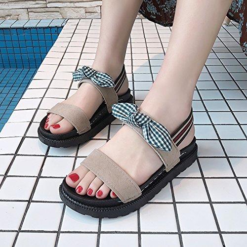 YMFIE de de Verano Viaje Señoras al Sandalias Playa los Libre de Aire Antideslizante Casual Pajarita pies Calzado b Moda RfRqr0nx