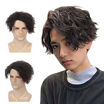 #1 H/&Bwig Men Wig Short Natural Dark Brown Hair Synthetic Full Wigs Male Guy Daily Cosplay Costume Party