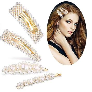 987157ba25315 Amazon.com : Yariew 4Pcs Pearl Hair Clips Gold Hair Pins Hair Barrettes  Artificial Handmade Hair Accessories for Women Girls : Beauty