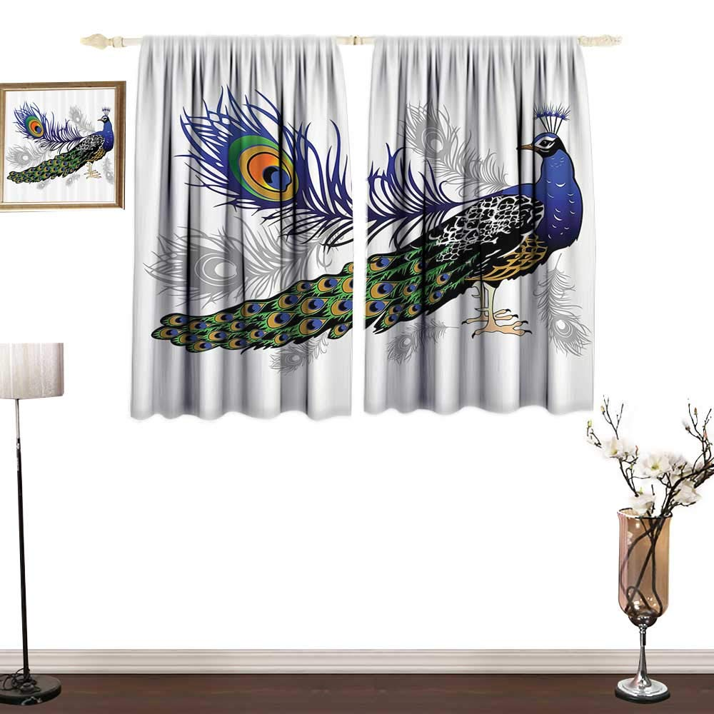 PeacockCustom curtainMale Peacock Feathers Springtime Wilderness Crowned Majestic Animal PatternChildren's Bedroom Curtain W55 xL39 Navy Black Green Gray
