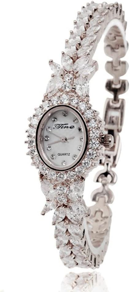 XY-QXZB De moda de las damas de diamantes Multislice rosa de oro y plata de cobre correa impermeable reloj pulsera de cuarzo