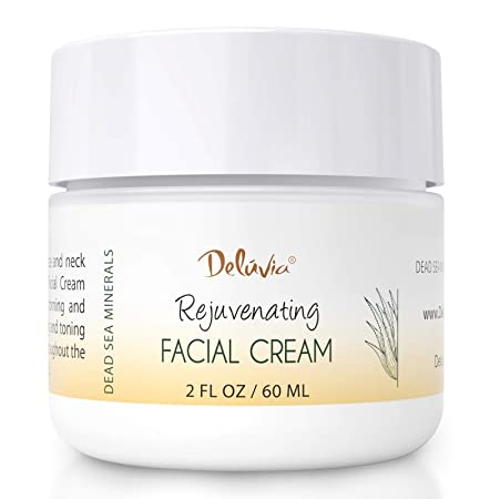 Face Moisturizer Cream with Organic Aloe Vera, Organic Coconut Oil, Vitamin C, Vitamin E and Rosehip Oil. Daily Facial Lotion for Dry Skin, Sensitive Skin. Rejuvenating Facial Cream by Deluvia