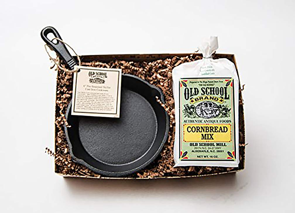 Old School Brand Cornbread Mix & Cast Iron Skillet Gift Set (Includes 6 Inch Cast Iron Pan and 1 Bag of Old School Brand, NON-GMO, Cornbread Mix) by Old School Brand