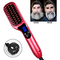 Beard Straightening Comb, OOOUSE 2 in 1 Multifunctional Electronic Hair/Beard Straightener | Menツエs Curly Hair Straightening Brush, Quick Heating & LED Display & Temperature Adjust - Red