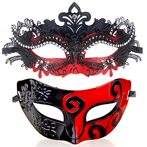 Couples Pair Evening Prom Venetian Masquerade Masks Set Party Costume Accessory (Black&red)]()