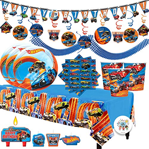 (Hot Wheels Wild Racer MEGA Birthday Party Supplies Pack For 16 Guests With Small Dessert Plates and Napkins, Tablecover, Cups, Add An Age Birthday Banner, Swirl Decorations, Candles, and Exclusive)