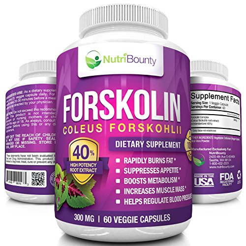 NutriBounty 40% Standardized Forskolin Coleus Root Extract Supplement, 60 Capsules