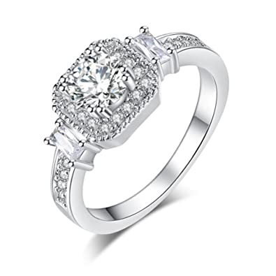 ced7165037480 Amazon.com: TEMEGO Halo Engagement Ring - 14k Silver Round Baugette ...