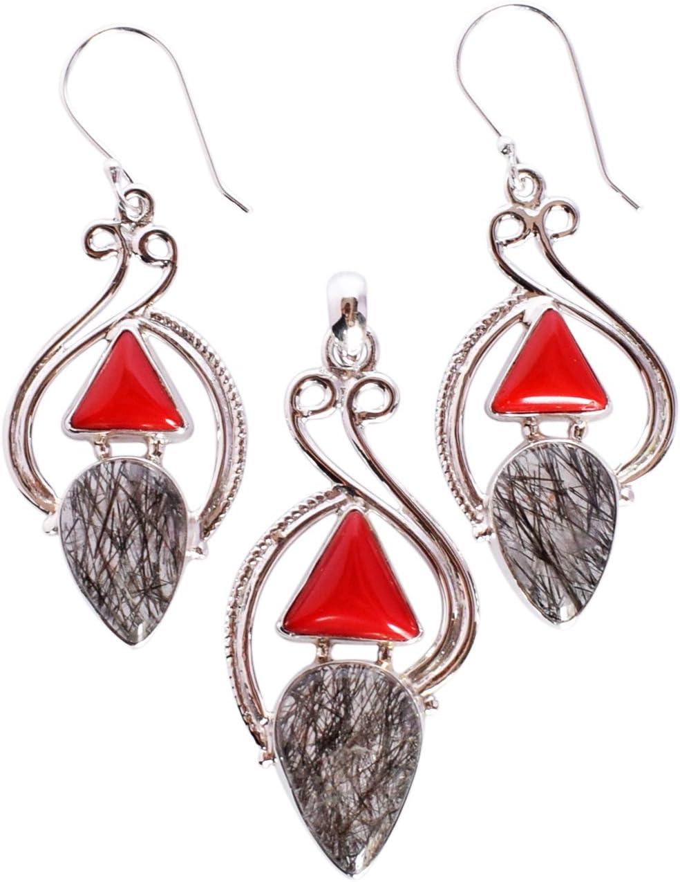 Fabuloso juego de pendientes y colgante de plata de ley 925 con gema de coral negro y rojo para mujer FSJ-2839