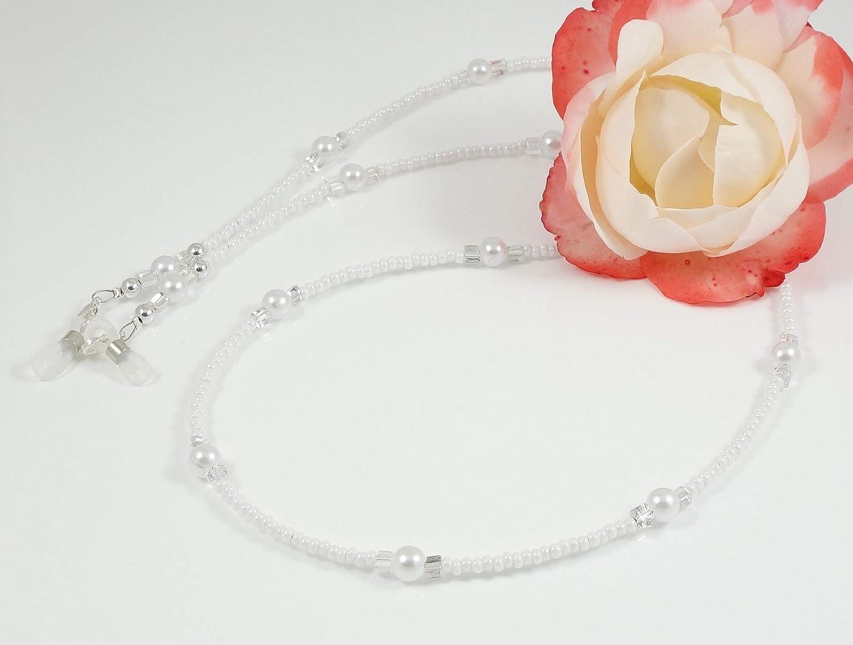 www.mein-Brillenband.de Occhiali Occhiali Catena Occhiali cordoncino in perle di vetro perlmuttweiss Hand Made pezzo unico 4884