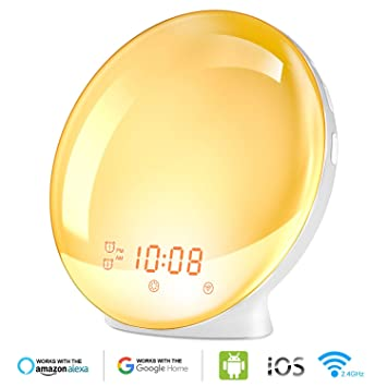 Wake Up Light Alarm Clock, Burbupps Kids Night Light Compatible with Alexa & Google Home, 7 Colored Sunrise Simulation and Sunset Fading, Dual Alarm ...